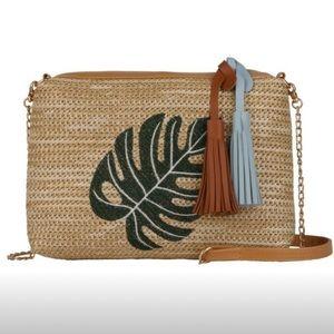 Handwoven Straw Shoulder Bag w/Leaf Print